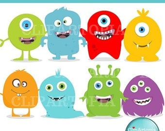 50% OFF SALE Cute Little Monster Digital Clipart For Personal and Commercial use / INSTANT Download