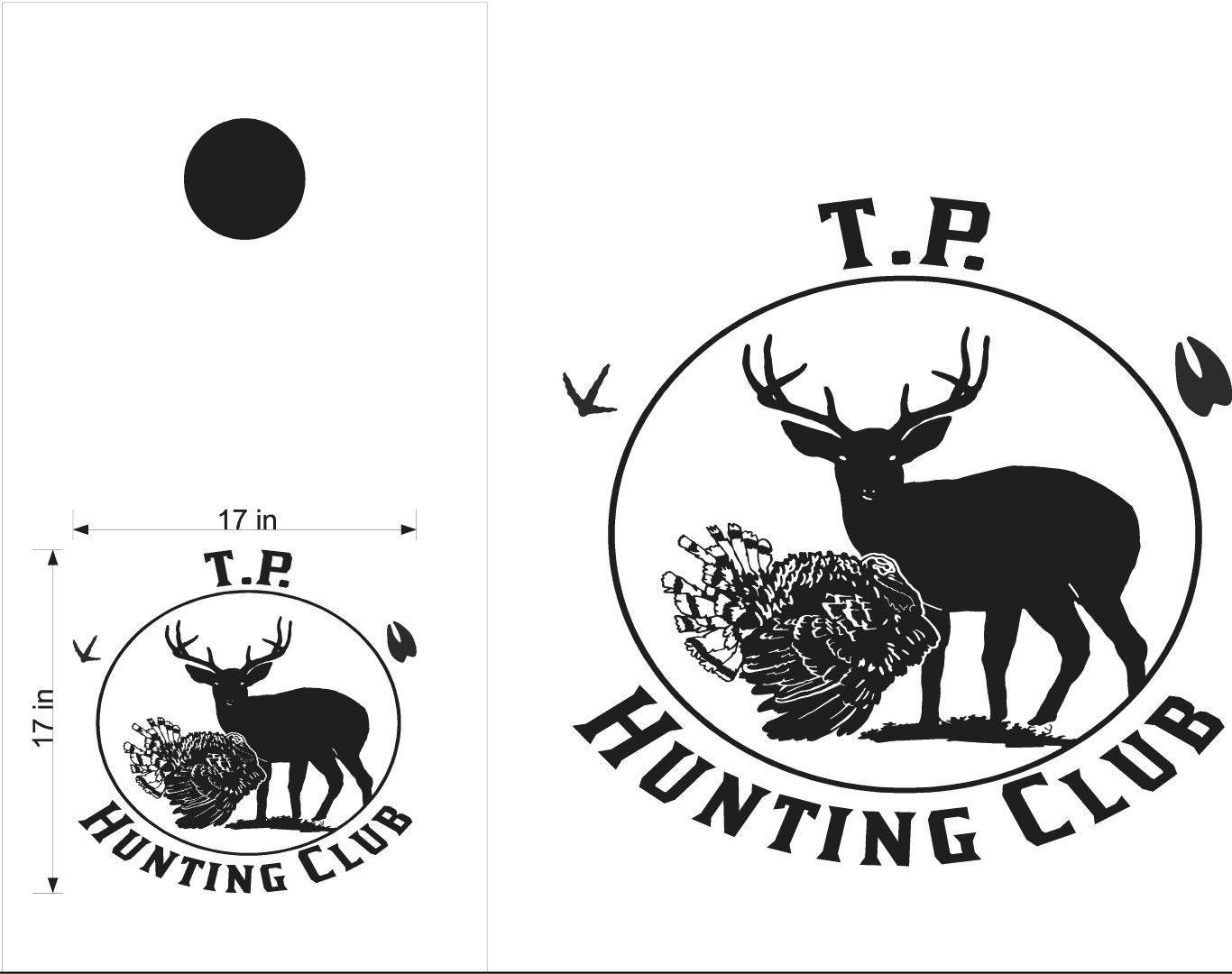 deer buck turkey hunting club cornhole board decals by