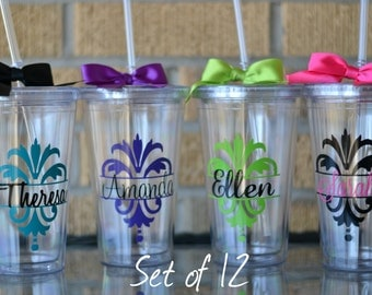 Bridesmaids Gifts, set of 12 - Personalized Damask Tumblers - Your choice of colors and personalization
