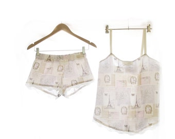Marie Antoinette~ Parisian Flea Market Women's ~ Sleepwear Shorts and Sleep top ~ Pyjamas boxer shorts lingerie loungewear Mothers day gift