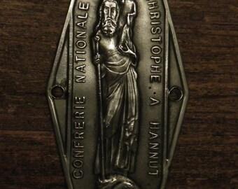 Antique religious silvered plaque of Saint Christopher patron Saint for travelers