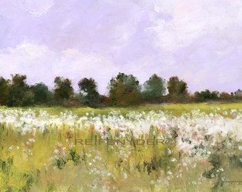 Landscape print wildflowers in a field impressionism, paper, art, pictures, green, white, lavender, country scene, flowers, paintings