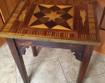 Antique Folk Art Marquetry Hand Made Side Table with Rabbits