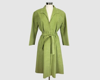 Roy Halston Vintage 1970s Ultrasuede Wrap Coat Full Length Lime Green Ultrasuede House of Halston Union Made Canada Medium