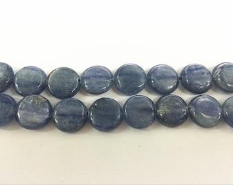 12mm Flat Round African Kyanite Beads Genuine Natural 4521 - 15''L Semiprecious Gemstone Bead Wholesale Beads Supply