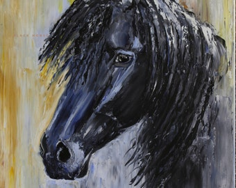 Black Horse Portrait/Friesian Horse/Horse Art/Digital Art/to print/