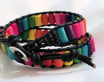 Wrap bracelet 2- Layer leather and wood rainbow