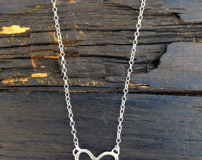 HEART with bird Sterling silver necklace - FREE shipping
