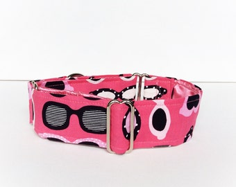Sunglasses martingale collar (dog collar, greyhound martingale, pink, retro, vintage, cat's eyes cotton)