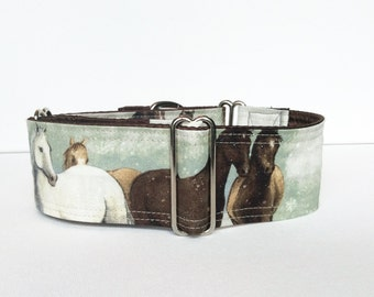 Wild horses martingale collar (dog collar, greyhound martingale, blue Christmas winter celebration victorian snow vintage cotton satin)