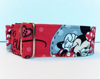 Too cute for words martingale collar (dog collar, greyhound martingale, girl, Minnie  red cute fun irresistible )