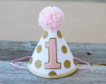 Girls 1st Birthday Pink and Gold Small Party Hat - Girls First Birthday Polkadot Party Hat