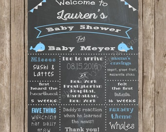 Whale Theme Baby Shower Sign Printable - Mommy-to-be Chalkboard Poster - Nautical Baby Shower - Nautical Chalkboard - DIY Printable