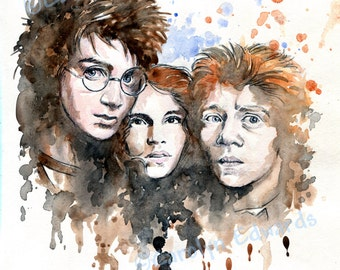 Harry Potter - HARRY, HERMIONE and RON ~ A4 Art Print (29.7 x 42cm)