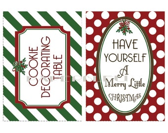 "DIY Instant Printable Download - Christmas ""Cookies Table"" & ""Have Merry Christmas"" Prints Signage -  two 5x7 prints"