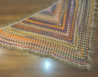 Crocheted shawl in granny style