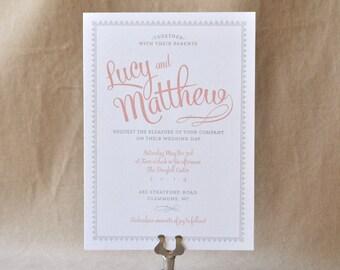 Wedding Invitation - Vintage Lace & Ribbon, Vintage Wedding, Lace Invitation, Wedding Invite