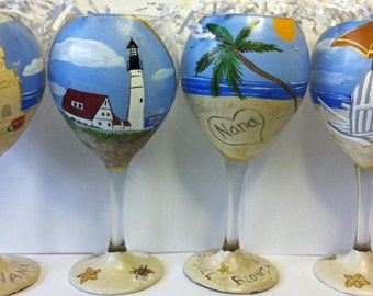 Beach themed wine glasses