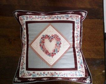 County Hearts and Flowers Pillow Cover