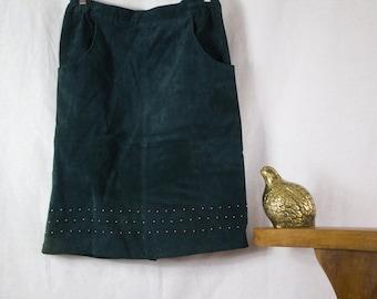 Hunter Green Suede Knee Length Skirt w/ Gold Stud Detail