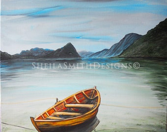 Boat art, beautiful hand painted lake scene, landscape painting, pond, mountains, canoe painting