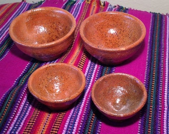Set of 4 glazed clay measuring cups made in Guatemala