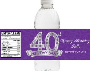 40th Birthday Water Bottle Labels | Adult Birthday Party Labels