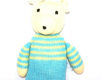 Lovely Knitted Teddy Bear in blue and yellow jump suit