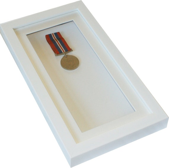 deep white shadow box display frame 12x6 tall for medals pocket watcheskeepsakes decoupage from frameanddisplay on etsy studio - White Shadow Box Frame
