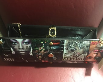 New Black Clutch purse with gold strap