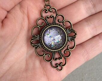 Purple Ornate Brass Nail Polish pendant