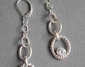 Sterling Silver Handmade Chain Earrings with Brilliant Cut Zircon