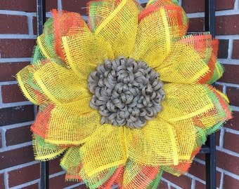 Sunflower Wreath, Front Door Wreaths, Orange Sunflower Wreath, Summer Wreath, Handmade Wreath, Handmade Gift, Mother's Day Gift