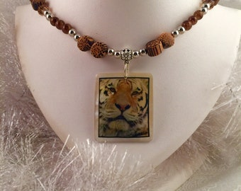 "Tiger necklace with gold, brown and silver tone crystal/accents, For the untimate ""Tiger"" fan"