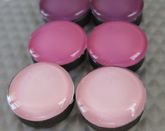 Purple, Raspberry, and Pink Glass Magnets (set of 6)