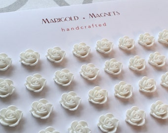 wedding magnets - set of (50)  WHITE flower magnets , place card display, Christening, Bat Mitzvah, Sweet Sixteen, small strong magnets