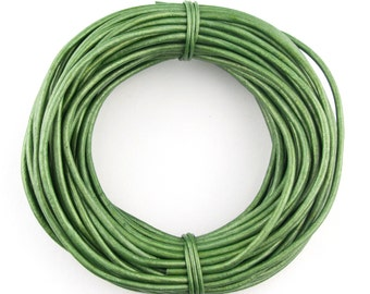 Green Metallic Round Leather Cord 1mm 25 meters (27.34 yards)