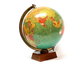 Vintage Replogle 12 inch Library world map glass globe lighted with wood stand