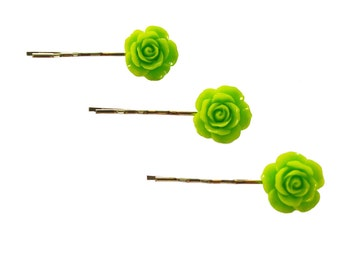 SALE - Set of 3 Green Color Rose Flower Resin Bobby Pin - Cute Hair Clip - Hair Pins - Color Hair Clips - Bobby Pins Set - Flower Girl Hair