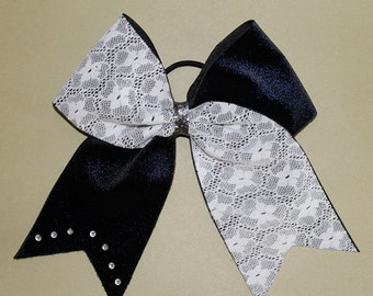 CHEER BOW=Navy blue and Lace