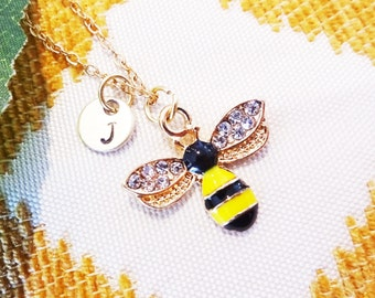 YELLOW BLACK BUMBLEBEE necklace - bumble bee personalized with initial charm on gold plate chain