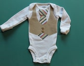 READY TO SHIP  - 6 month Baby Boy Tie and Vest, long sleeves