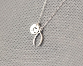 Wishbone  Necklace. Personalized Initial Necklace. gift for friend sister mom he.r No44