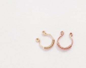 Fake Septum Rings,  Gold Filled Nose Cuff / Rose Gold Fake Nose Rings / Dainty, Faux Nose Ring , Sterling Silver Fake Nose Ring