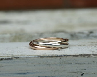 Russian wedding band , rolling rings gold
