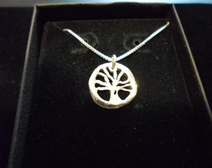 melted mini tree of life w/sterling silver chain