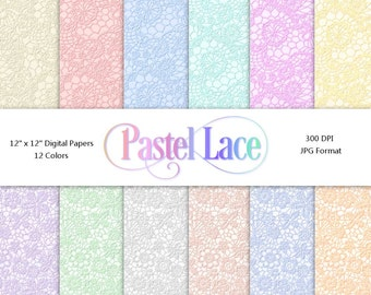 Pastel Lace | Digital Paper Pack | Instant Download