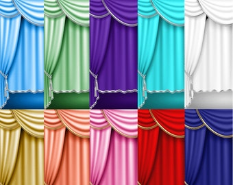 Theater Curtains   Drapes Gold & Silver Trim Royal Blue Red Purple Turquoise   10 Colors   20 Digital Images   Clipart   Instant Download