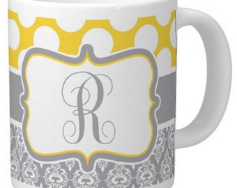 Yellow and Grey Damask Personalized Coffee Mug, Monogrammed Gift 15 oz
