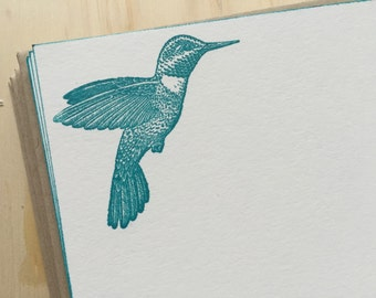 vintage inspired flat note cards and envelopes, hummingbird, stationery set, set of 10
